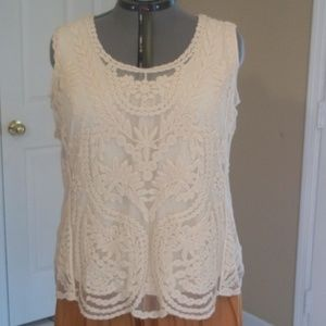 Charming Embroidered Mesh Sleeveless Tank